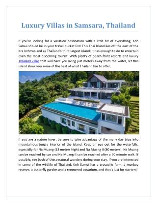 Luxury Villas in Samsara, Thailand