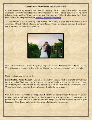 Creative Ideas To Make Your Wedding Memorable