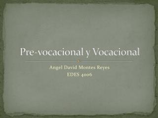 Pre-vocacional y Vocacional