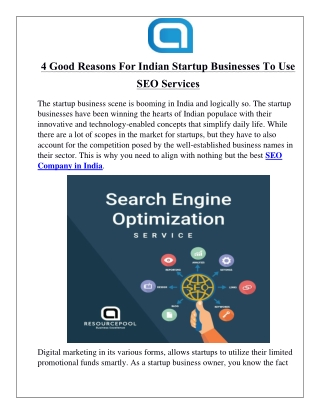 4 Good Reasons For Indian Startup Businesses To Use SEO Services
