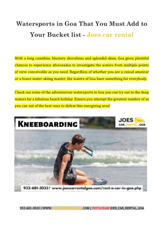 Watersports in Goa That You Must Add to Your Bucket list - Joes car rental