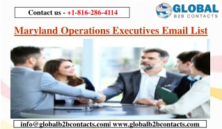 Maryland Operations Executives Email List