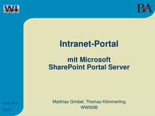Intranet-Portal mit Microsoft SharePoint Portal Server