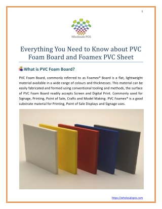 Everything You Need to Know about PVC Foam Board and Foamex PVC Sheet