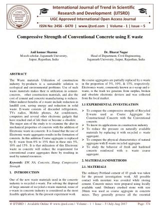 Compressive Strength of Conventional Concrete Using E Waste