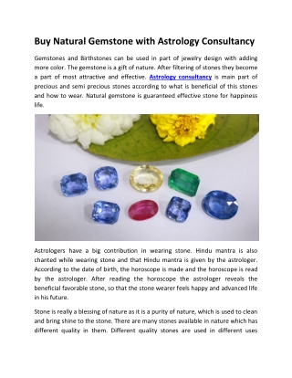 Gemstone Online available on Astrology Consultancy