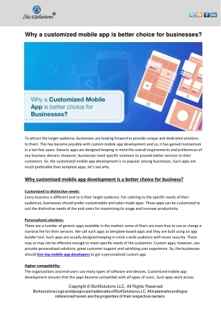 Why a Customized Mobile app is Better Choice for Business?