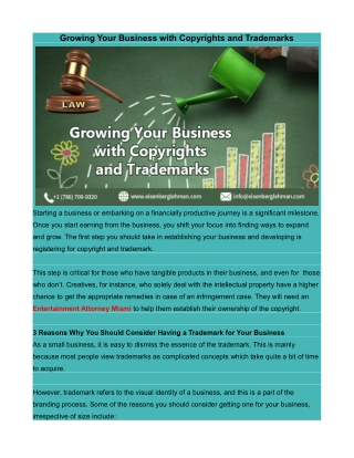 Growing Your Business with Copyrights and Trademarks