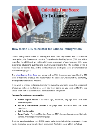 CRS Calculator for Canada Immigration