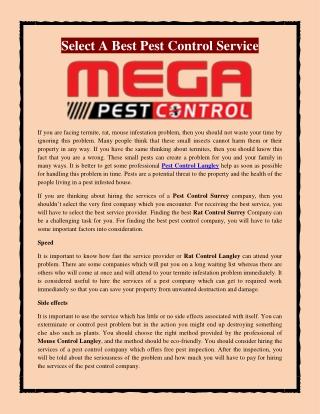 Select A Best Pest Control Service