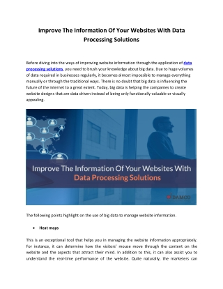 Improve The Information of Your Websites With Data processing Solutions_Blog 1