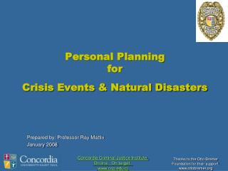 Personal Planning  for Crisis Events & Natural Disasters