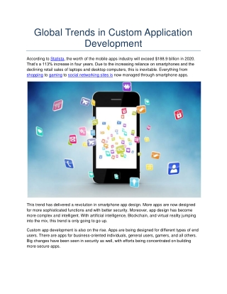 Global Trends in 2020 Custom Application Development