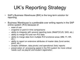 UK's Reporting Strategy