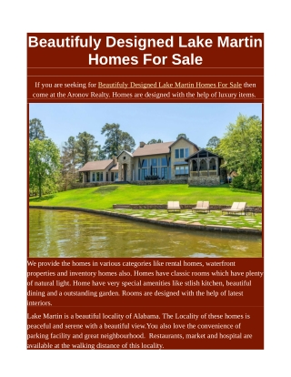 Beautifuly Designed Lake Martin Homes For Sale