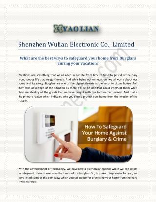 Burglar alarm, wireless calling system manufacturer at yaolianelec.com