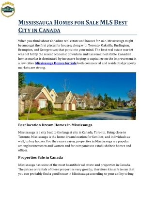 Mississauga Homes for Sale MLS Best City in Canada