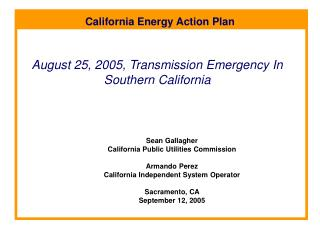 August 25, 2005, Transmission Emergency In Southern California