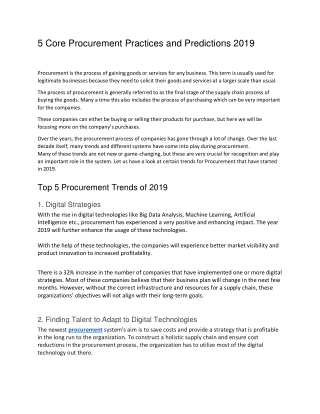 5 Core Procurement Practices and Predictions 2019