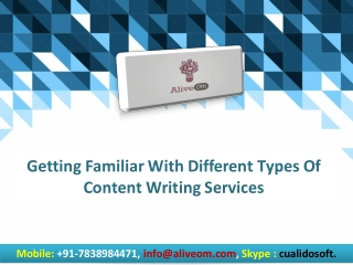 Getting Familiar With Different Types Of Content Writing Services