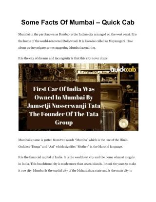 Some Facts Of Mumbai – Quick Cab