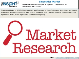 Smoothies Market Upcoming Future Growth and Opportunities with Top Key Players, Demand Up to 2027