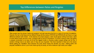 Top Differences between Patios and Pergolas