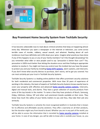 Buy Prominent Home Security System from TechSafe Security Systems