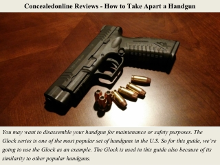 Concealedonline Reviews - How to Take Apart a Handgun