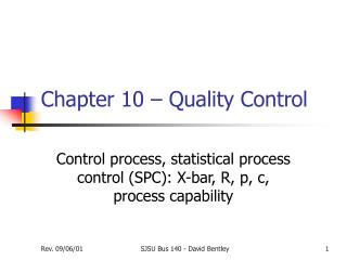 Chapter 10 – Quality Control