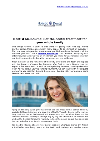 Dentist Melbourne: Get the dental treatment for your whole family