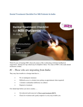 Dental Treatment Checklist For NRI Patients In India