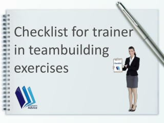 Checklist for trainer in teambuilding exercises