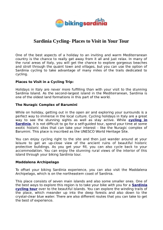 Sardinia Cycling - Places to Visit in Your Tour