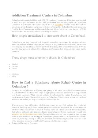 Alcohol and drug rehab treatment centers in columbus ohio