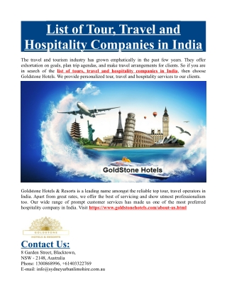 List of Tour, Travel and Hospitality Companies in India