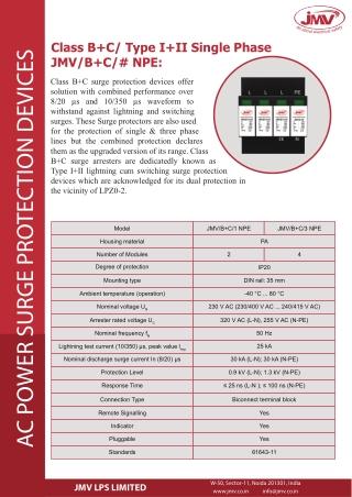 JMV's proficiently developed Class B C Surge protection Devices