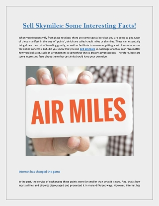 Sell Skymiles: Some Interesting Facts!