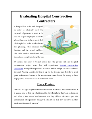 Evaluating Hospital Construction Contractors