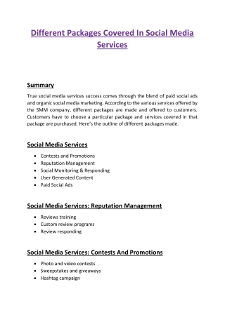 Different Packages Covered In Social Media Services