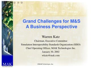 Grand Challenges for M&S A Business Perspective