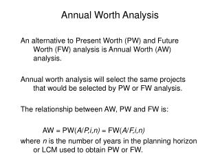 Annual Worth Analysis