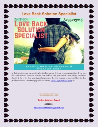 Love Back Solution Specialist