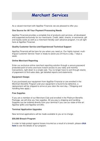 Appstar Financial ! Merchant Services