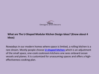 What are The U-Shaped Modular Kitchen Design Ideas? (Know about 4 ideas)