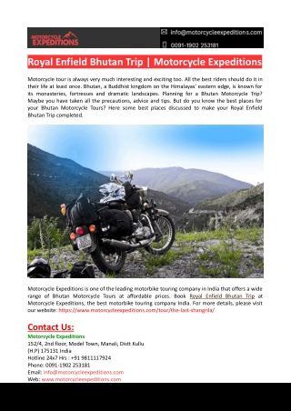 Royal Enfield Bhutan Trip-Motorcycle Expeditions