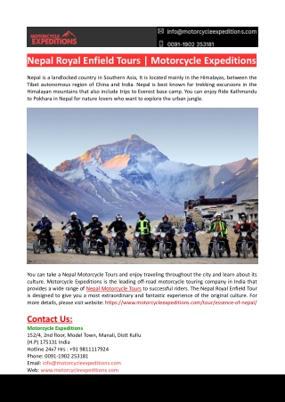 Nepal Royal Enfield Tours-Motorcycle Expeditions