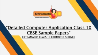 Detailed Computer Application Class 10 CBSE Sample Papers