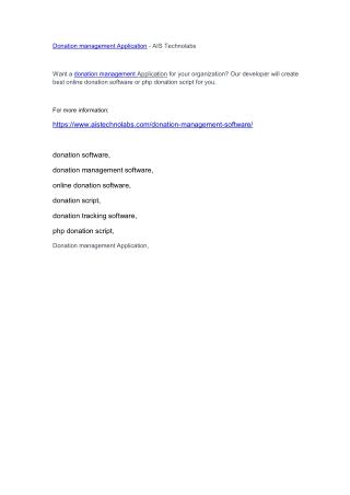 Donation management Application - AIS Technolabs