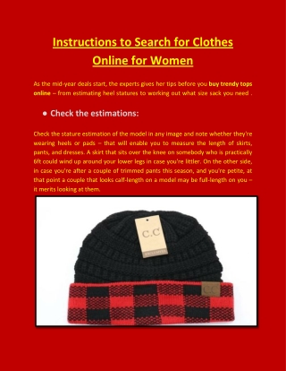 Instructions to Search for Trendy Tops Online for Women